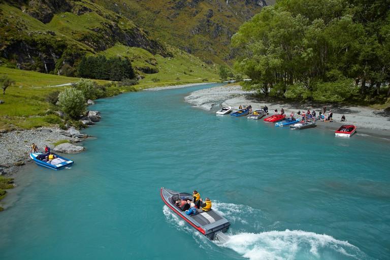 Jet boats, Matukituki River West Branch, Matukituki Valley, near Wanaka, Otago, South Island, New Zealand