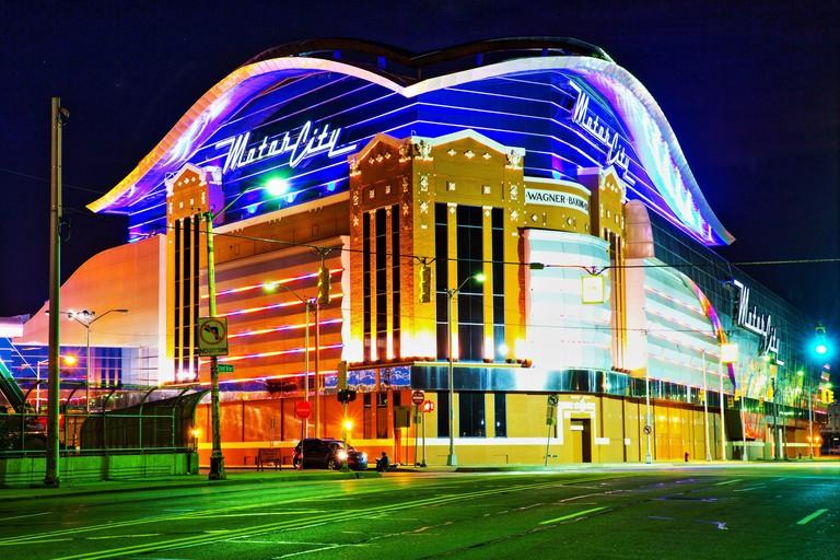 MGM Grand Hotel & Casino Detroit at night, Michigan, USA. Oct. 28, 2014.