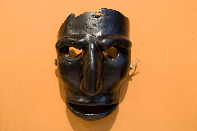 Sardinia: Mamoiada - Museo delle Maschere Mediterranee / ancient carnival mask from 1800's