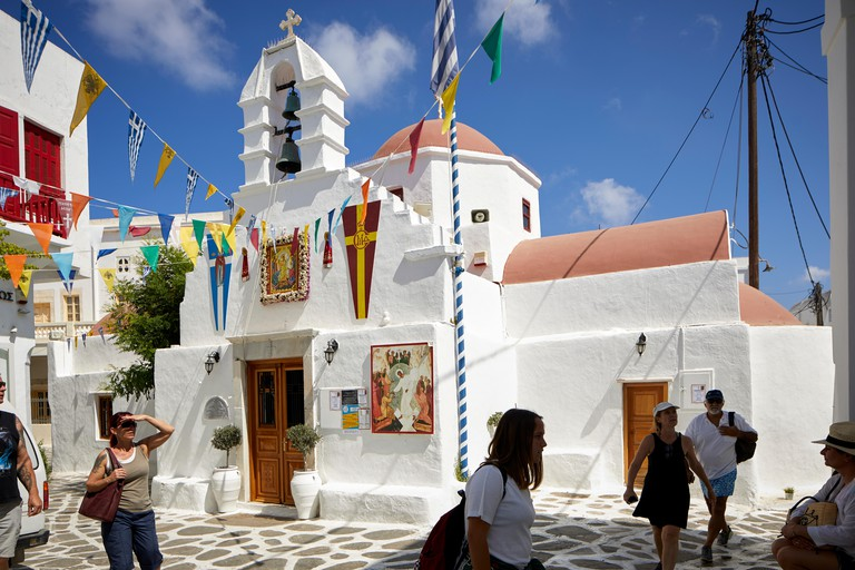 Mykonos, mikonos Greek island, part of the Cyclades, Greece. Agia Kyriaki Church in the souk area