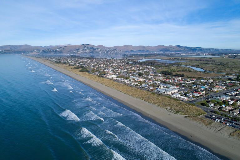 New Brighton Beach, Christchurch, South Island, New Zealand - drone aerial