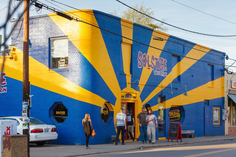 Solstice Tavern, NoDa district, Charlotte, North Carolina, USA. Image shot 2016. Exact date unknown.