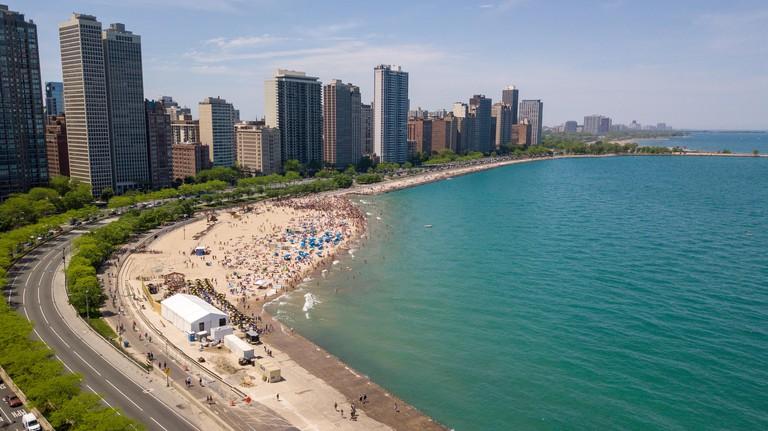 Oak Street Beach, Chicago, IL, USA