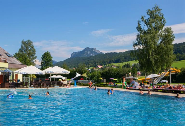 Austria, Salzburg State, Flachgau, Thalgau, open-air swimming pool,