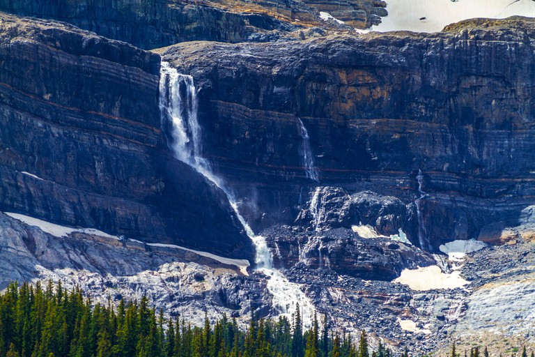 Bow Glacier Falls in Banff National Park, Alberta, Canada. Bow Glacier is an outflow glacier from the Wapta Icefield along the Continental Divide, and