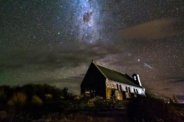 New Zealand, South Island, Canterbury Region, Church of the Good Shepherd at night