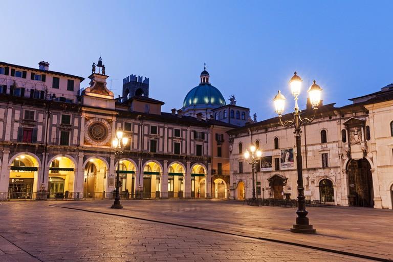 Piazza della Loggia at dusk