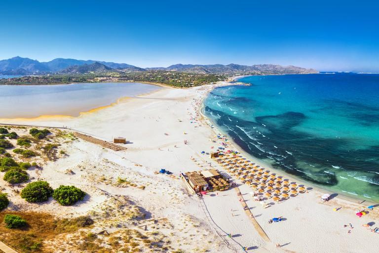 Porto Giunco beach, Villasimius, Sardinia, Italy. Sardinia is the second largest island in the Mediterranean Sea.
