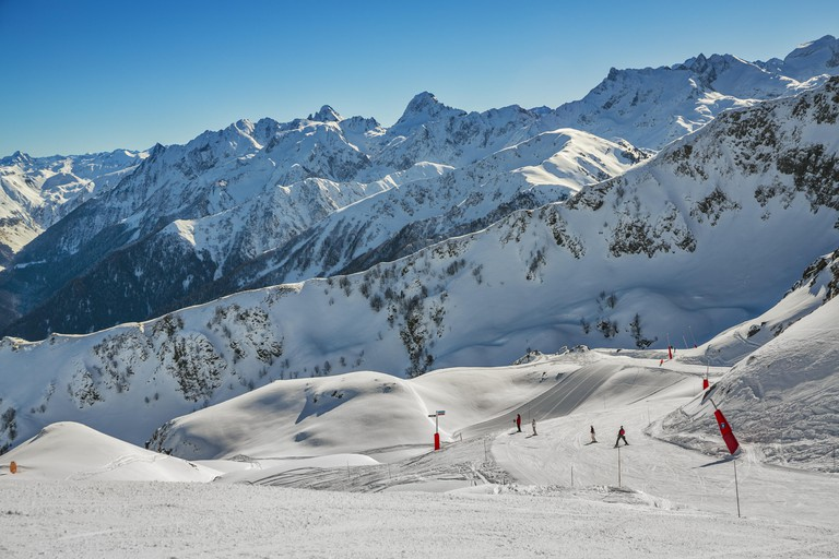 Luchon- Superbagneres ski resort. Bagneres de Luchon. Haute-Garonne. Midi Pyrenees. France.