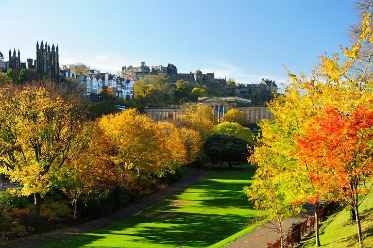 Autumn colours in Princes Street Gardens, Edinburgh, Scotland