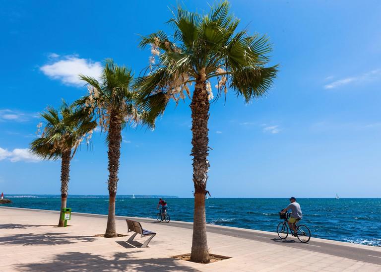 Promenade of Portixol, Palma de Mallorca, Balearic Islands, Mallorca, Majorca, Mediterranean Sea, Europe