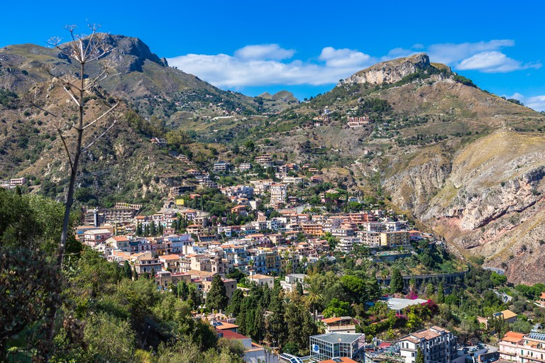 The view from the small village Castelmola at mountain top above Taormina, with the view of Mediterranean Sea. Castelmola, Sicily, Italy.