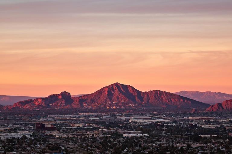 Camelback Mountain at sunset in Phoenix, Arizona, USA.