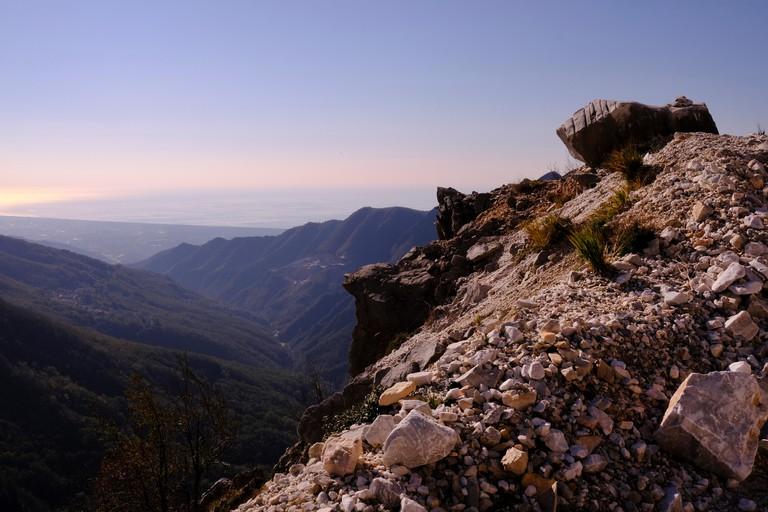 Unplugged: exploring nature, hiking on Tuscany mountains, breathtaking panorama (Italy).