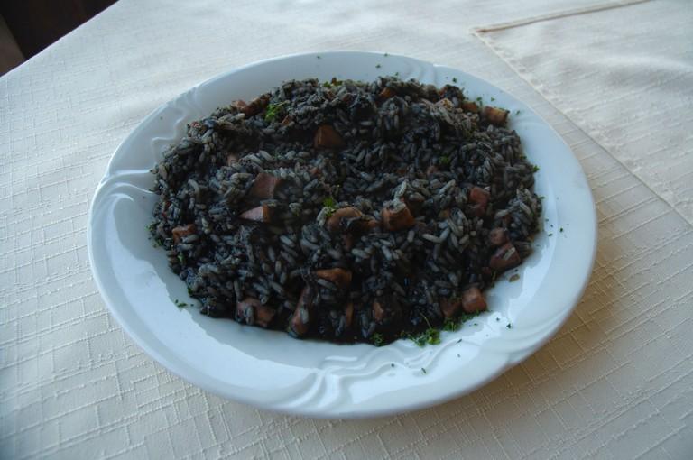 Risotto Nero the black seafood risotto Split Dalmatia Croatia Europe