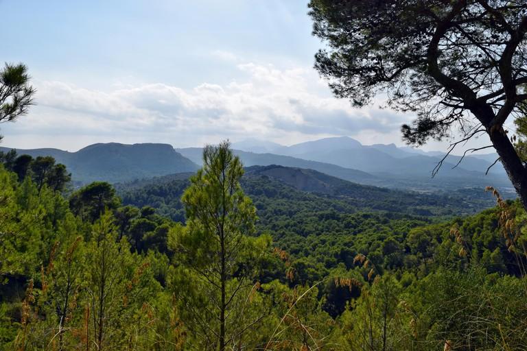 A view of the mountain top Puig de Sant Marti in Alcudia, Mallorca