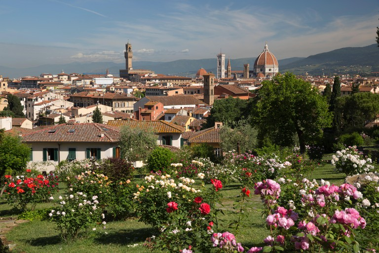 View over Florence from the Rose Garden below Piazza Michelangelo, Florence, Tuscany, Italy, Europe