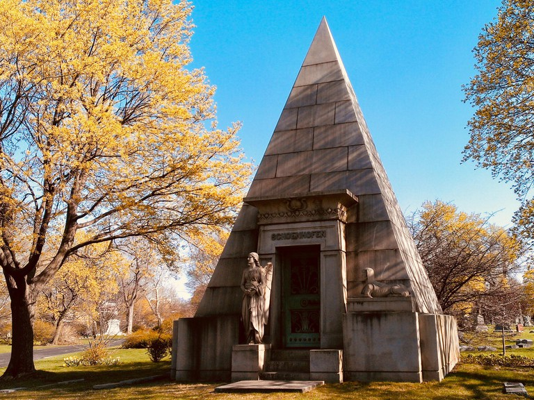 Pyramid mausoleum in Graceland Cemetery, Chicago, Illinois.