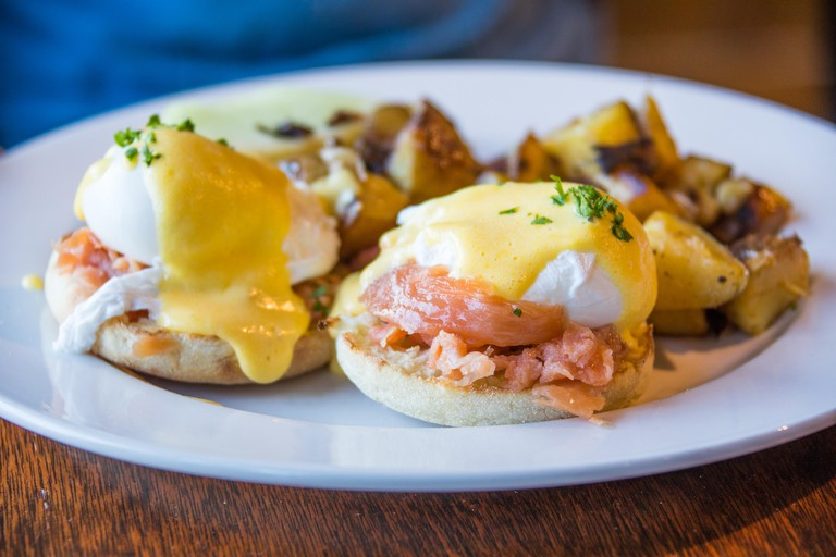 Salmon Benedict at Wildwood Cafe, Function Junction, Whistler, Canada