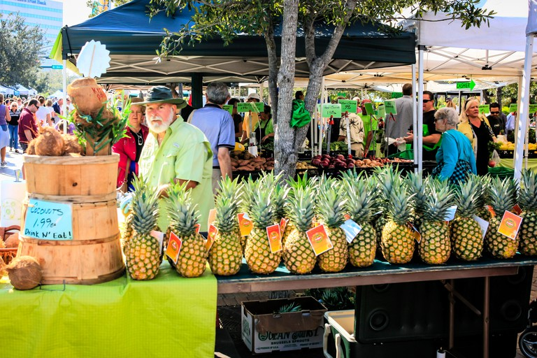 Fresh Pineapples on sale at the weekly Sarasota farmers market