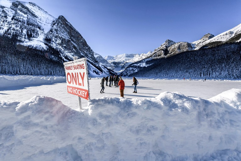 Winter ice skating at Lake Louise, Banff Alberta Canada