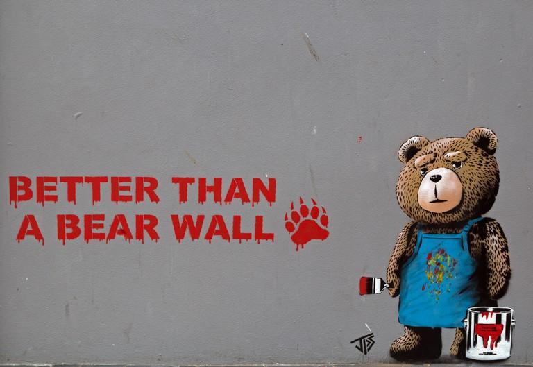"""Better than a Bear Wall"", street art by JPS in Weston-super-Mare, England"