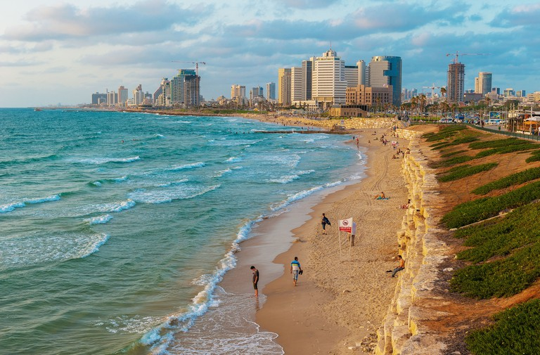 Tel Aviv skyline and beach