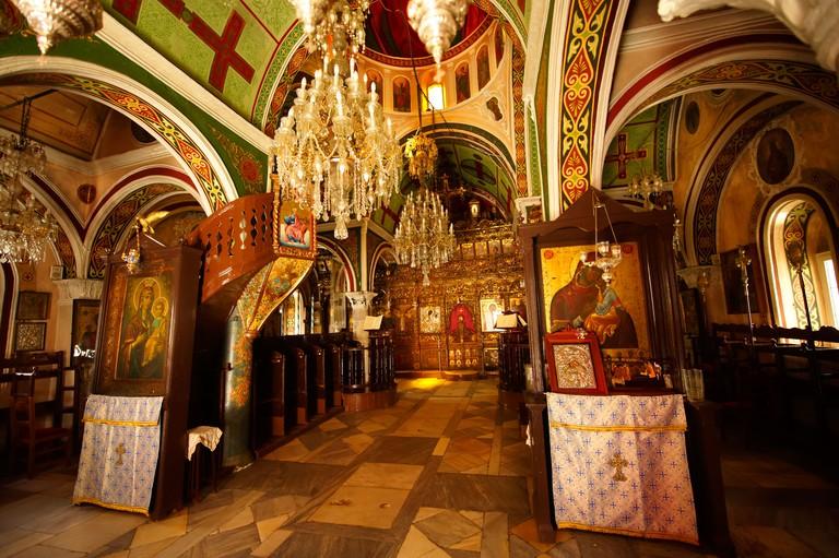 Interior of Monastery of Paleokastro Greek Orthodox church, Ano Mera, Mykonos, Cyclades Islands, Greece.