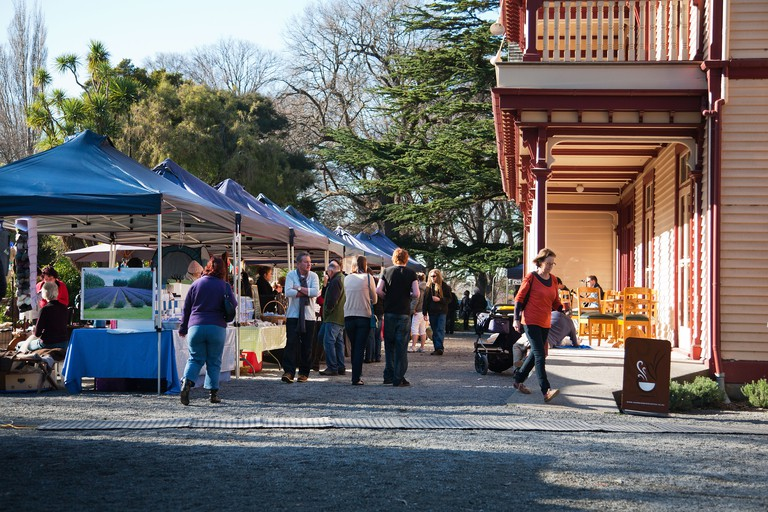 People at the Riccarton outdoor market in the grounds of  Riccarton House, Christchurch, Canterbury, South Island, New Zealand.. Image shot 2011. Exact date unknown.
