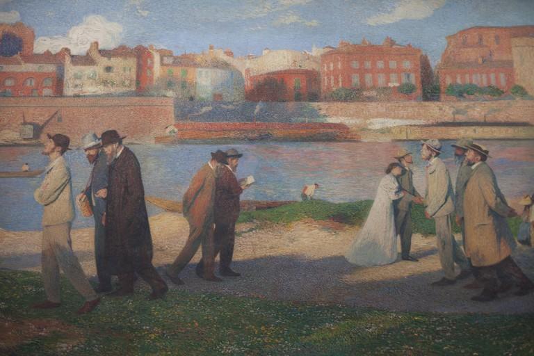 'Les bords de la Garonne, les Reveurs' (1906) by Henri Martin (1860-1943) in the Salle Henri Martin in the Capitole, Toulouse, Occitanie, France