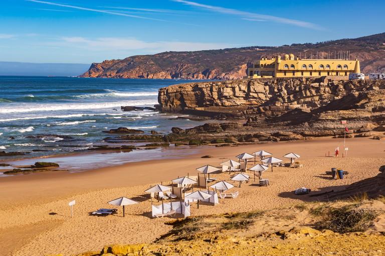 The Praia Grande do Guincho beach near Lisbon, Portugal