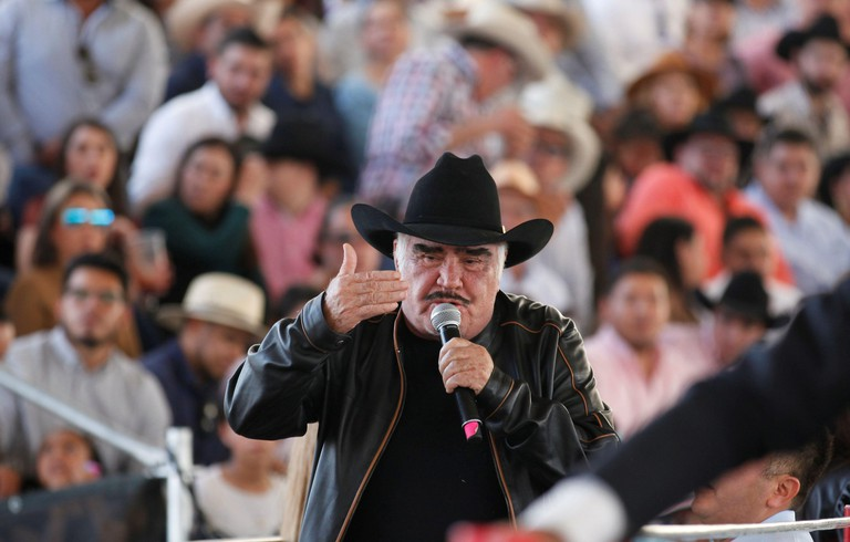 Tlajomulco, Mexico. 17th Feb, 2020. Mexican singer Vicente Fernandez participates in the celebration of his 80th anniversary, during a 'charro' tournament held at the VFG Arena in the city of Tlajomulco state of Jalisco Mexico, 16 February 2020. Mexican s
