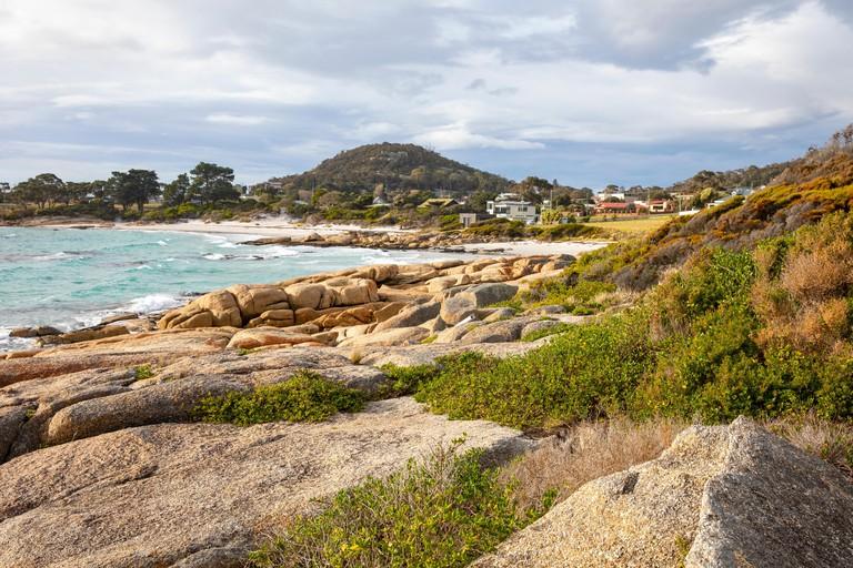 Bicheno Tasmania, coastline and rocky ocean shore at Bicheno a small town on the north east coast of Tasmania,Australia