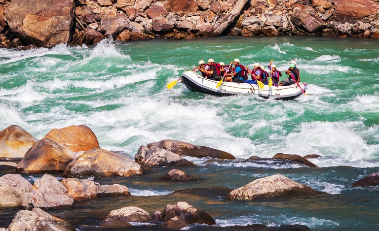 Rafting on  river Ganges in Rishikesh Uttarakhand, India.Famous tourist attraction