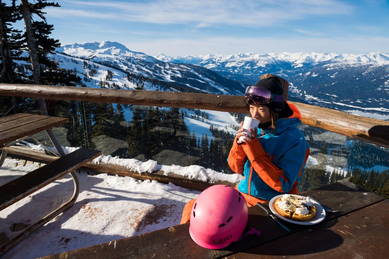 Whistler, BC, Canada: Waffle on the Crystal Hut patio ? Stock Photo