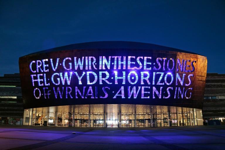 The Canolfan Mileniwm Cymru/Wales Millennium Centre which opened in 2004, in Cardiff Bay, Wales. Designed by  Jonathan Adams.