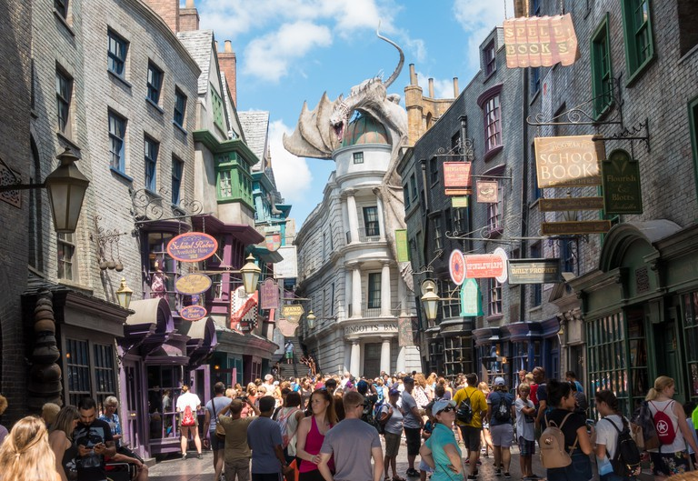 Gringotts Bank and Diagon Alley in the Wizarding World of Harry Potter in Universal Studios Orlando, Florida.