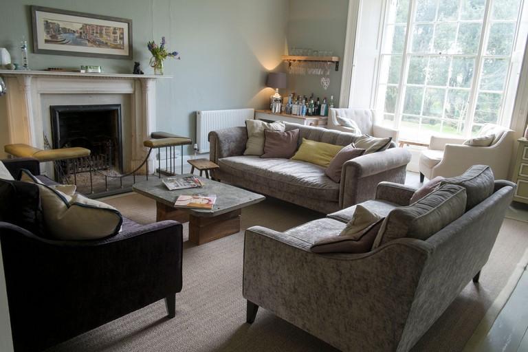 Lounge at Trewornan Manor bed and breakfast, near Wadebridge, north Cornwall