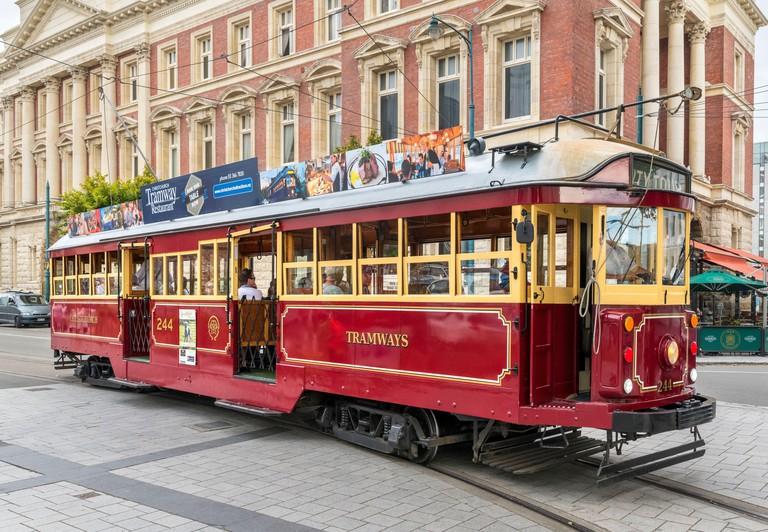 A Christchurch Tramway tram on Worcester Street, Christchurch, New Zealand