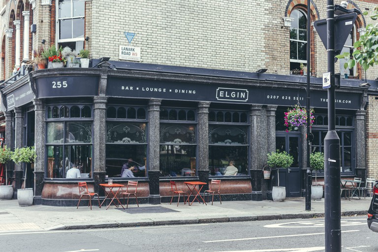 London/UK-30/7/18: The Elgin restaurant on Elgin Avenue in Maida Vale. Maida Vale is an affluent mostly residential district, part of the City of West