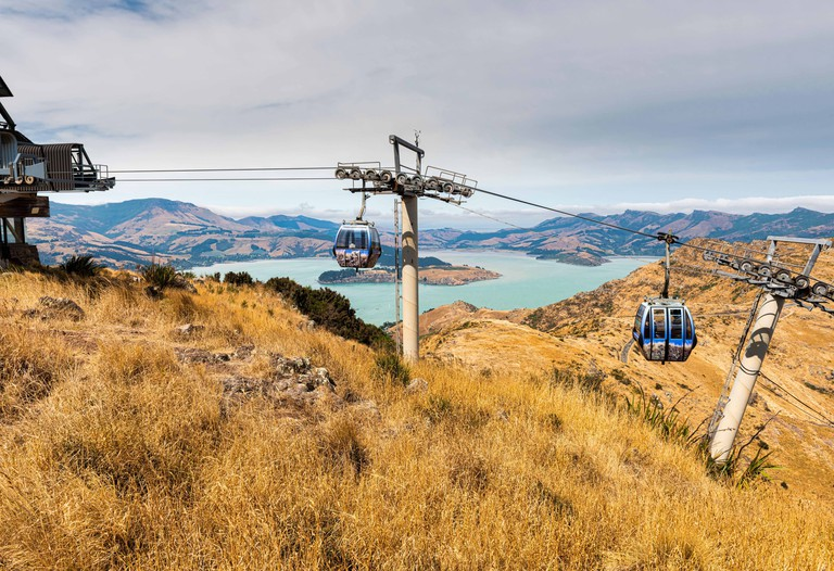 View from the Tauhinu-Korokio Scenic Reserve and Christchurch Gondola near Christchurch in New Zealand