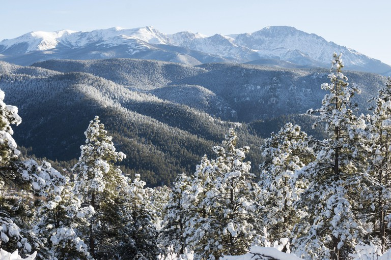 Fresh snow blankets the forest at the base of Majestic Pikes Peak Colorado.