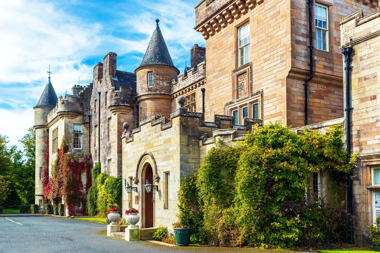 Exterior of Glenapp Castle Hotel and entrance door, Ballantrae, Ayrshire, Scotland, UK