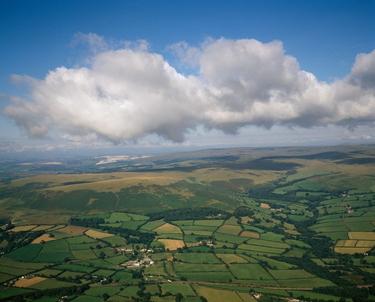 Dartmoor, Devon: patchwork of fields Aerial view from a hot air balloon.. Image shot 1995. Exact date unknown.