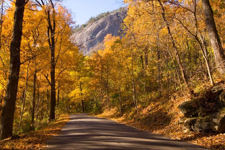 Entrance road at Chimney Rock State Park, NC, USA
