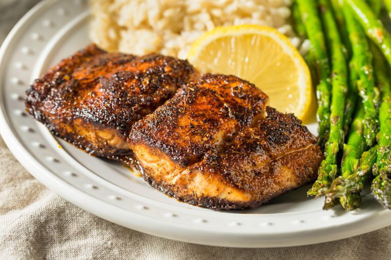 Homemade Blackened Mahimahi White Fish with Asparagus and Rice