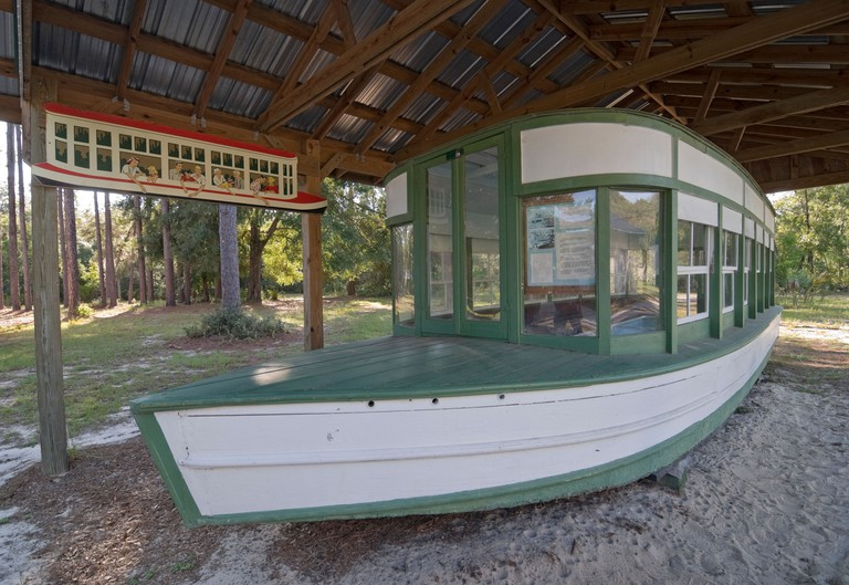 Silver River State Park Museum Ocala Florida restored 1920's era old original glass bottom sightseeing tourist boat