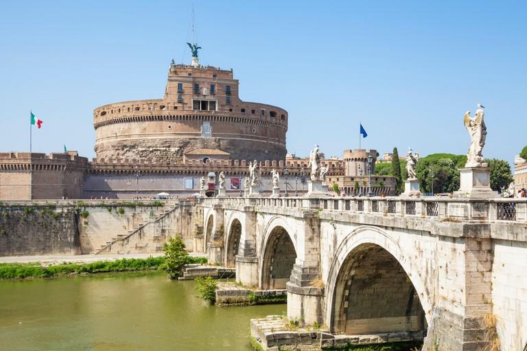 Castel Sant'Angelo from Ponte Sant'angelo Lungotevere Castello Roma Rome  Lazio Italy EU Europe
