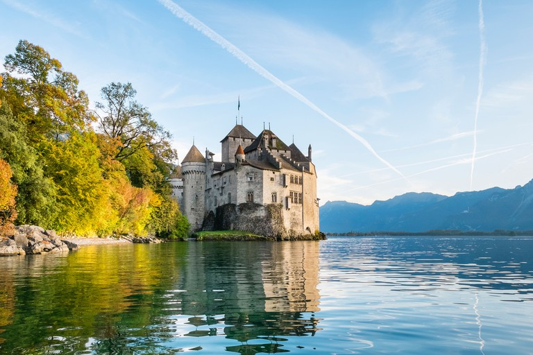 Chateau de Chillon castle on the shores of Lake Geneva (French: Lac Leman), Veytaux, Vaud Canton, Switzerland
