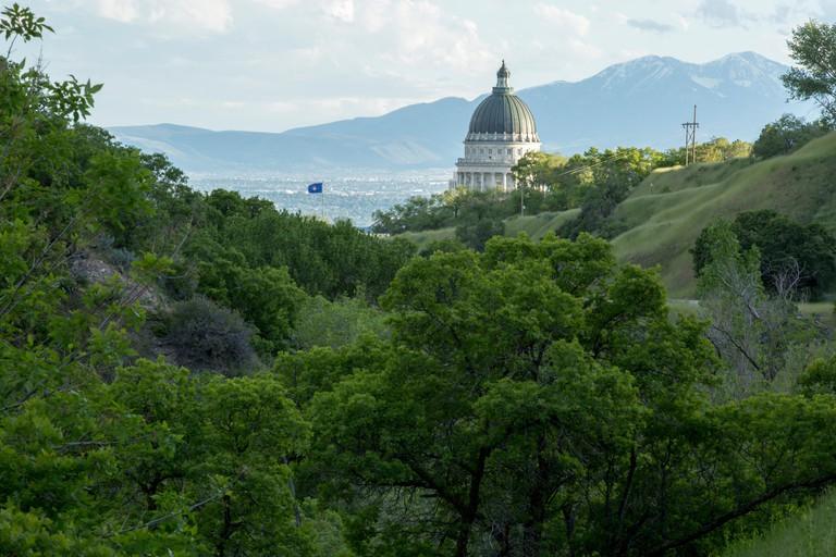 Utah State Capitol building from City Creek Canyon,  Salt Lake City, Utah, USA